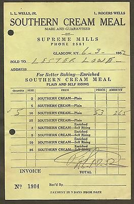 Southern Cream Meal / Supreme Mills, Glasgow, Ky Invoice 1952