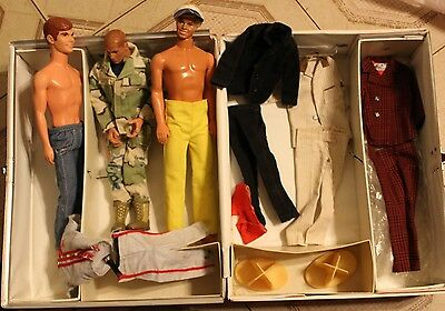 1960's Barbie Doll Trunk W/3 Ken Dolls & 4 Ken Doll Outfits Separate From Dolls