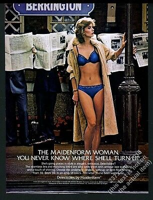 1983 Maidenform Lingerie woman in blue bra panty photo vintage print ad