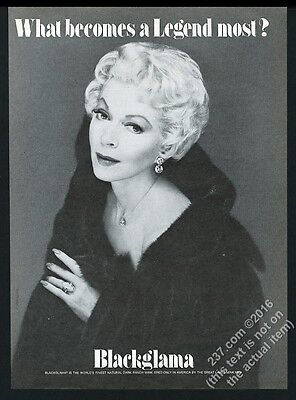 1980 Lana Turner photo Blackglama fashions vintage print ad