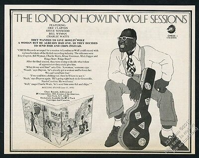 1971 Howlin Wolf portrait Chess Records album release vintage print ad