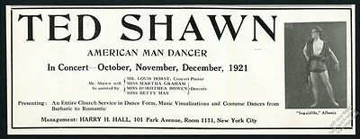 1921 Ted Shawn photo dancer dance performance trade booking ad