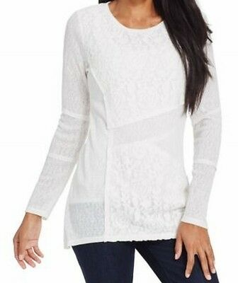 Style & Co. NEW White Women's Size Large PL Petite Lace-Front Knit Top $49 #144