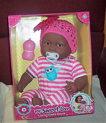 """NEW Berenguer 20"""" Lots To Cuddle Babies Brown Eyes Ethnic AA  Baby Doll OWL HTF"""