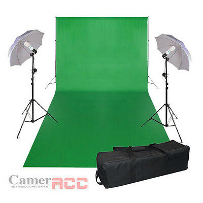 3x6m Studio Photography Chromakey Green Screen Background Backdrop Lighting Kit