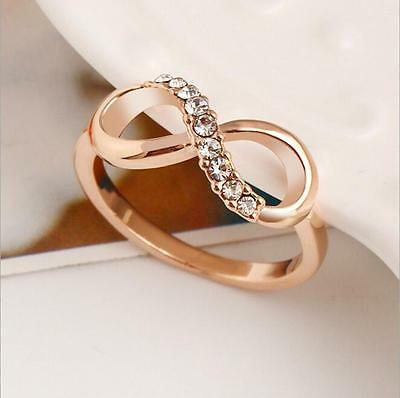 Size 6-9 Women Jewelry Rose Gold Plated Infinity Wedding Crystal Rhinestone Ring