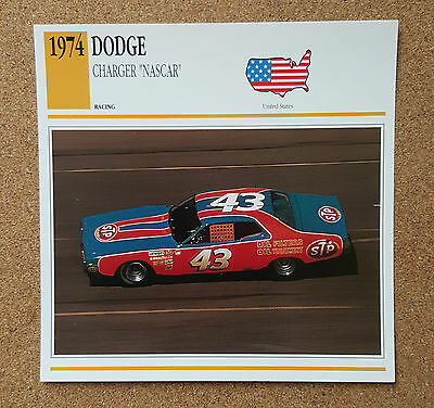 CLASSIC Cars Fact & photo reprint picture card DODGE CHARGER NASCAR Racing car