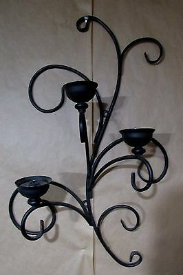 Vintage Gothic Wall Rod Iron Sconce Candle Holder W / Placement Cups