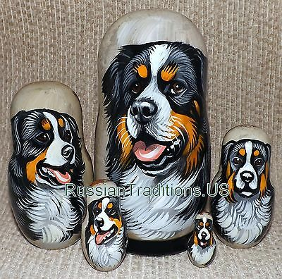 Bernese Mountain Dog on Five Russian Nesting Dolls. Dogs.