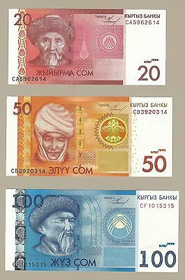 2009 Issue Kyrgyzstan, 20-100 Som Set Of 3 Notes, P24-26, Choice Uncirculated