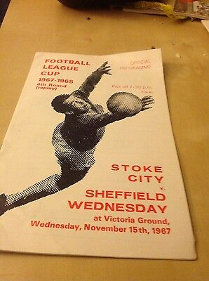 Stoke v Sheffield Wednesday programme, 1967/8, Football League Cup