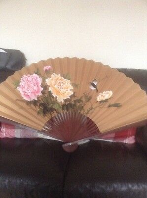 Laprge Oriental Hand Painted Hand Fan