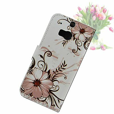 Flower Flip Leather Stand Card Pouch Wallet Cover Case For HTC ONE 2 2014 M8
