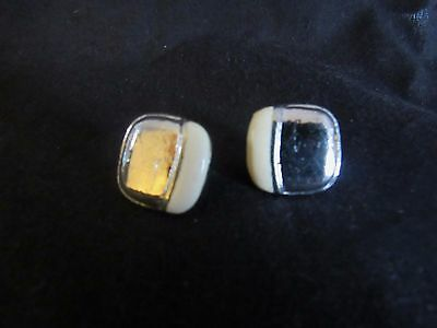 Vintage silver tone off white enamel square earrings