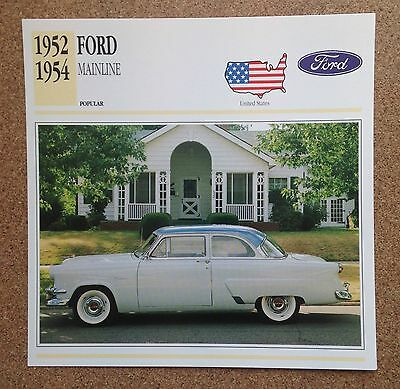 CLASSIC Cars Fact & photo reprint picture card FORD MAINLINE USA popular Car