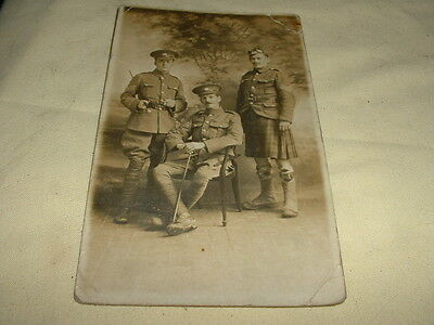 "Vintage Real Photograph Postcard Of "" Ww1 Soldiers In Uniform"" Dated 1916"