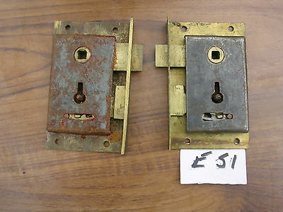 2 Antique Brass And Steel Cabinet Locks