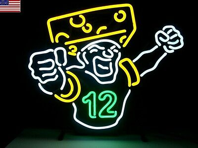 New Green Bay Packers Aaron Rodgers Cheesehead Nfl Real Neon Light Beer Bar Sign