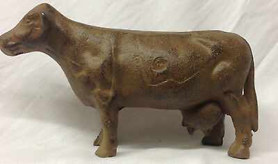 """Cast Iron Cow Paperweight Milker Milking Dairy Themed 5.75"""" Longx 3.5"""" Figurine"""