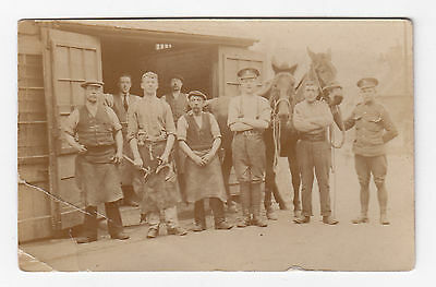 RP PC WW1 Royal Artillery Soldiers , Farriers , Horses , Hammers & Horseshoes