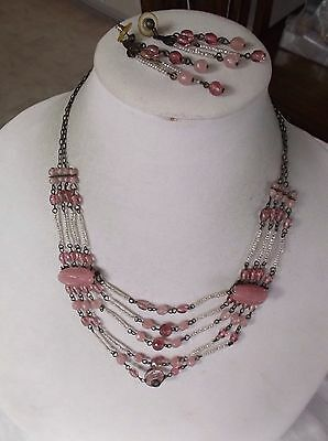 Vintage Molded Pink Glass And Seed Bead Necklace And Pierced Earrings Set
