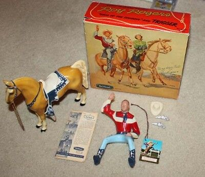 1950's Vintage Hartland Roy Rogers Original Box & Tag & Rare White & Blue Saddle