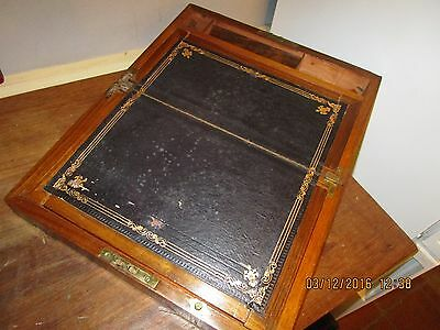 Antique Brass banded Writing Slope with secret compartment and 2 drawers