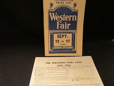 Western Fair London Ontario 74th Exhibition Prize List 1949 with Entry Form