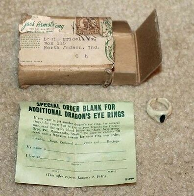 1940's Jack Armstrong Dragon's Eye Premium Ring Paper Instructions & Mailing Box