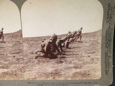 Worcesters Leading the Kopje Attack on Boers Antique Underwood Stereoview 1901