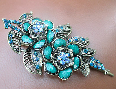 Vintage Style large Jewelled Paste Hair Clip Grip Pin Bridal Wedding Prom