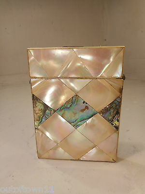 Antique Abalone & Mother of Pearl Card Case   ref 2401