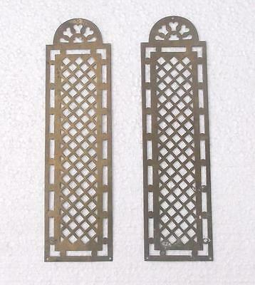 Pair Vintage French Pierced Brass Door Finger Plates #MM2