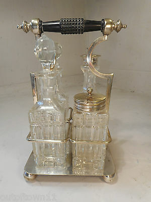 Glass Bottle Condiment , Silver Plate Stand  Cruet Set    ,   ref 2402