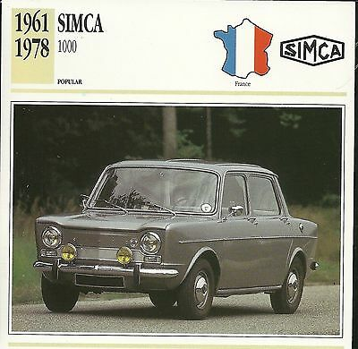 CLASSIC Cars Fact & photo reprint picture card SIMCA 1000