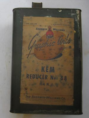 Vintage Sherman Williams Paint Graphic Arts Kem Reducer Advertising 1 Gallon Can