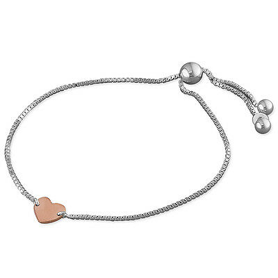 """925 Sterling Silver-Box Chain w/Slider Bead and Rose Gold Heart Bracelet-7.5"""""""