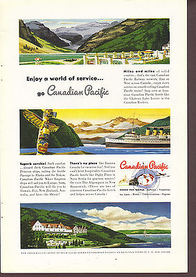 Canadian Pacific Railway Network 1949 magazine print ad