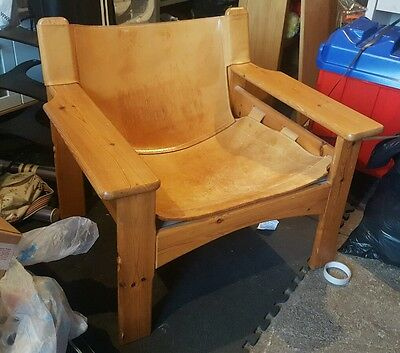 vintage chair pine saddle tan leather 60s 70s