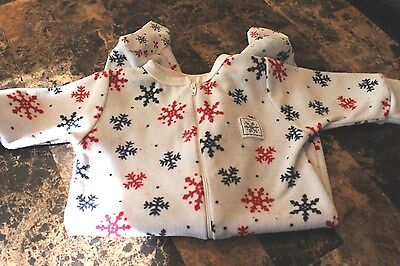 "Infant Unisex ""Cherokee Baby""  Snowflakes  One Piece Pajamas Size 0-3 Months GUC"
