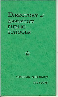 1944-45 Appleton WI Directory of Public Schools Booklet
