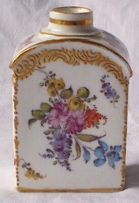 C19Th Dresden Hand Painted Tea Caddy Decorated With Flowers And Gilding