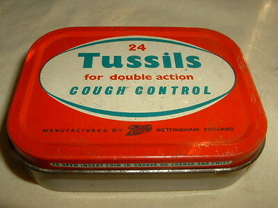 """Vintage Boots The Chemist """"tussils"""" Double Action Cough Tablets Advertising Tin"""