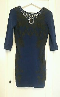 River island blue navy bodycon dress size 10. Embellished beaded long sleeves