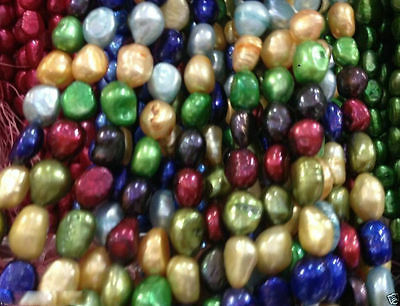 7-9MM multicolor irregular freshwater pearl loose beads 13""
