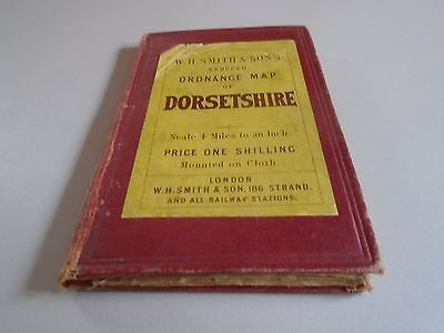 antique map - W H Smith county map of Dorsetshire - linen backed