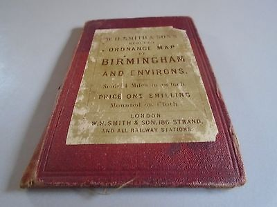 Antique map - W H Smith map of Birmingham Environs linen backed