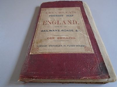 Antique Victorian Cruchleys tourist map of England linen backed