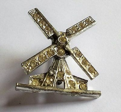 Vintage 1950S  Silver Tone Clear Crystal Windmill Brooch