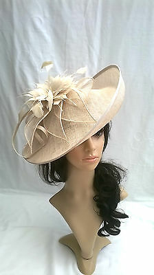 Champagne Feather Fascinator..Hatinator disc turned up brim Wedding..races.new